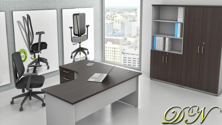 Zostava kancelárskeho nábytku Komfort 1.18, gaštan / sivá - ZE 1.18 07
