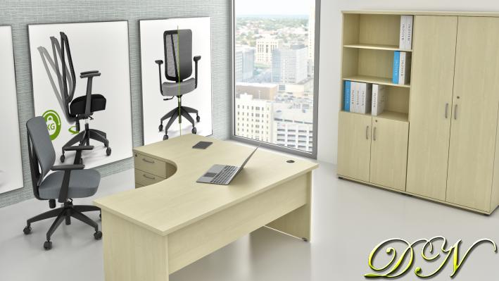 Zostava kancelárskeho nábytku Komfort 1.18, javor - ZE 1.18 12