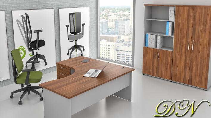 Zostava kancelárskeho nábytku Komfort 1.18, orech / sivá - ZE 1.18 19