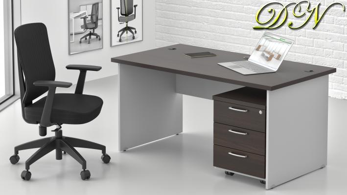 Zostava kancelárskeho nábytku Komfort 1.2, gaštan / sivá - ZE 1.2 07