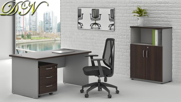 Zostava kancelárskeho nábytku Komfort 1.4, gaštan / sivá - ZE 1.4 07