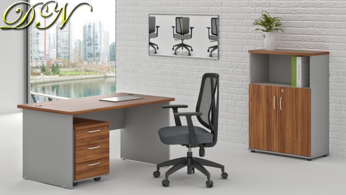 Zostava kancelárskeho nábytku Komfort 1.4, orech / sivá - ZE 1.4 19