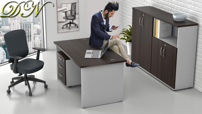 Zostava kancelárskeho nábytku Komfort 1.6, gaštan / sivá - ZE 1.6 07