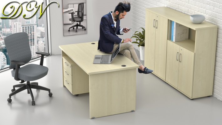 Zostava kancelárskeho nábytku Komfort 1.6, javor - ZE 1.6 12