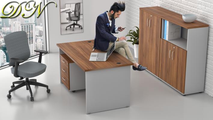 Zostava kancelárskeho nábytku Komfort 1.6, orech / sivá - ZE 1.6 19