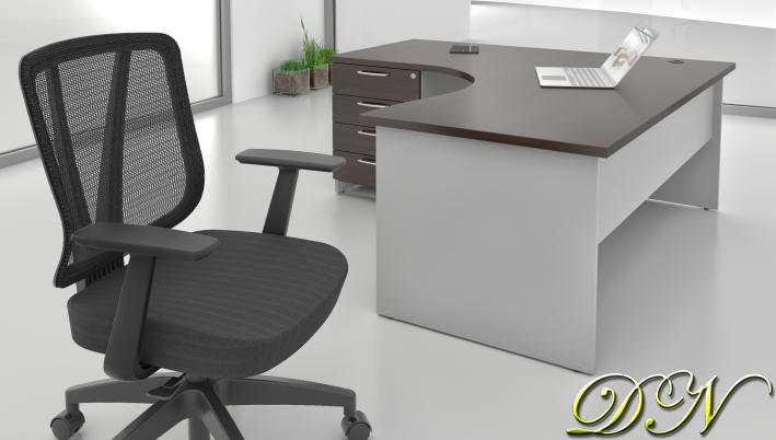 Zostava kancelárskeho nábytku Komfort 1.8, gaštan / sivá - ZE 1.8 07