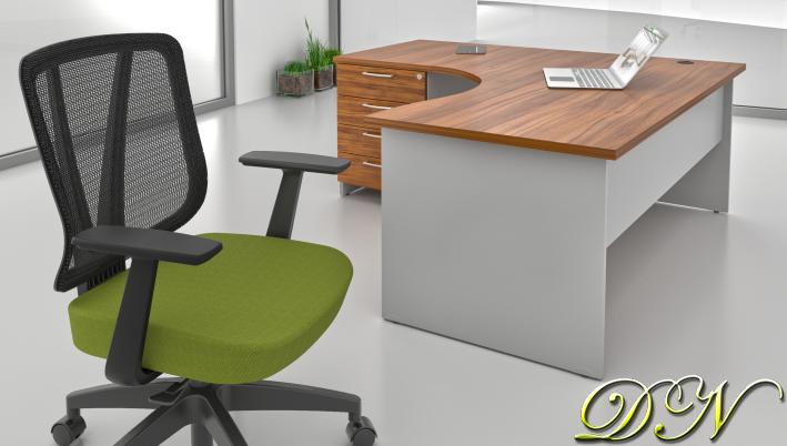Zostava kancelárskeho nábytku Komfort 1.8, orech / sivá - ZE 1.8 19