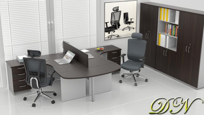 Zostava kancelárskeho nábytku Komfort 2.12, gaštan / sivá - ZE 2.12P 07