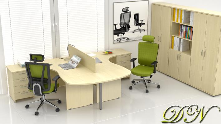 Zostava kancelárskeho nábytku Komfort 2.12, javor - ZE 2.12P 12
