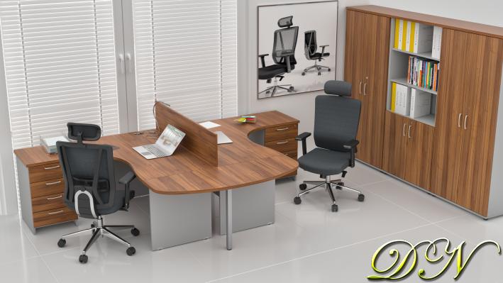 Zostava kancelárskeho nábytku Komfort 2.12, orech / sivá - ZE 2.12P 19