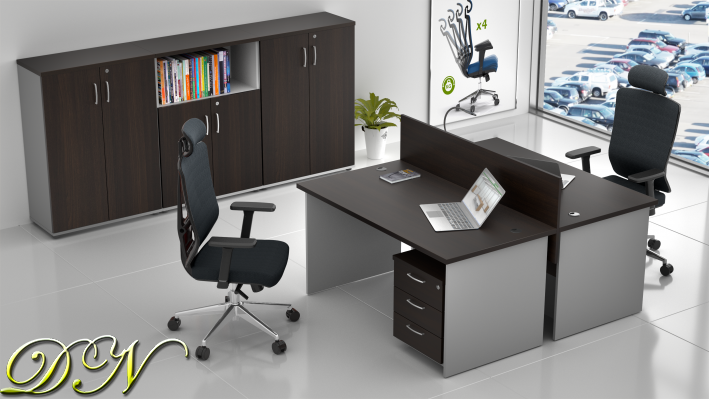 Zostava kancelárskeho nábytku Komfort 2.6, gaštan / sivá - ZE 2.6 07