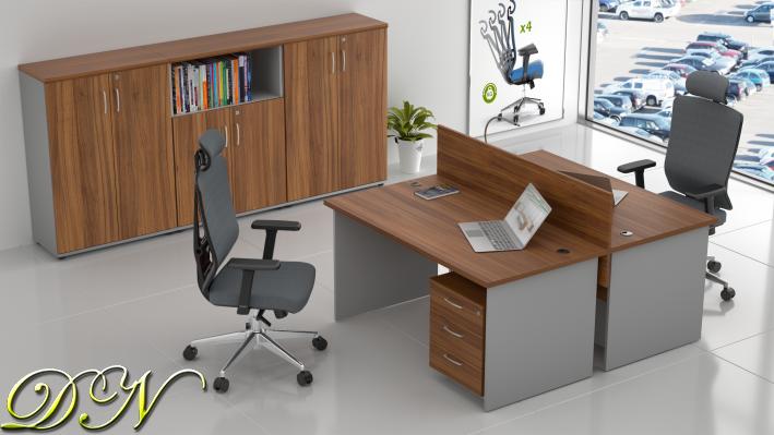 Zostava kancelárskeho nábytku Komfort 2.6, orech / sivá - ZE 2.6 19