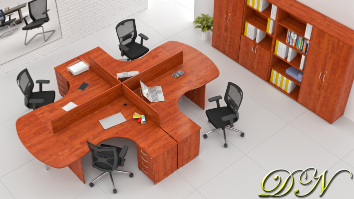 Zostava kancelárskeho nábytku Komfort 4.12, calvados - ZE 4.12P 03