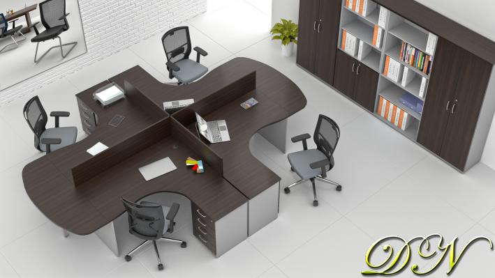 Zostava kancelárskeho nábytku Komfort 4.12, gaštan / sivá - ZE 4.12P 07