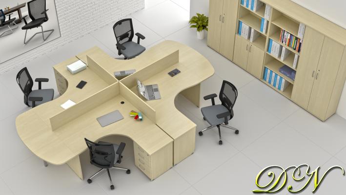 Zostava kancelárskeho nábytku Komfort 4.12, javor - ZE 4.12P 12