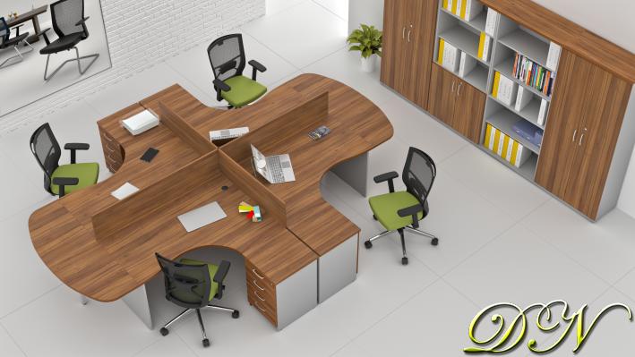 Zostava kancelárskeho nábytku Komfort 4.12, orech / sivá - ZE 4.12P 19