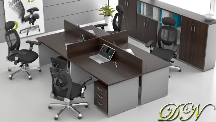 Zostava kancelárskeho nábytku Komfort 4.6, gaštan / sivá - ZE 4.6 07