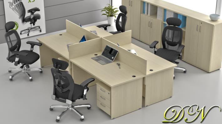 Zostava kancelárskeho nábytku Komfort 4.6, javor - ZE 4.6 12