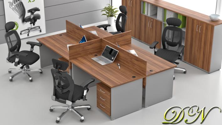 Zostava kancelárskeho nábytku Komfort 4.6, orech / sivá - ZE 4.6 19