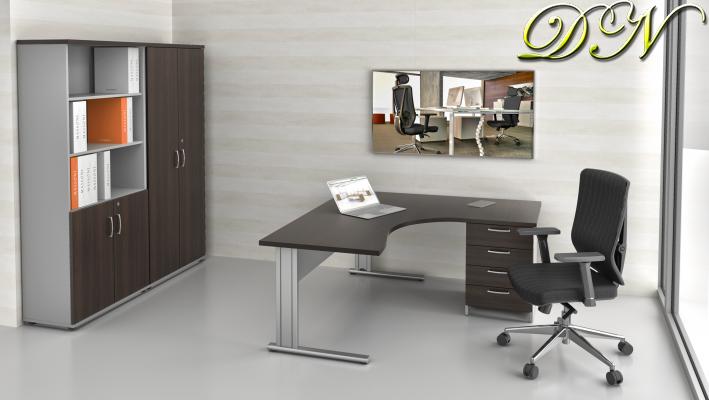 Zostava kancelárskeho nábytku Komfort 1.12, gaštan / sivá - ZEP 1.12 07