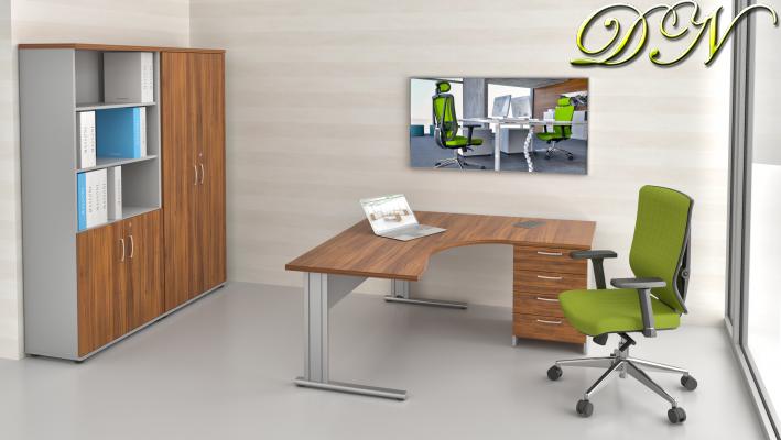Zostava kancelárskeho nábytku Komfort 1.12, orech / sivá - ZEP 1.12 19
