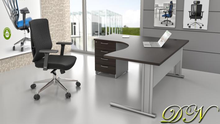 Zostava kancelárskeho nábytku Komfort 1.14, gaštan / sivá - ZEP 1.14 07