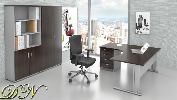 Zostava kancelárskeho nábytku Komfort 1.18, gaštan / sivá - ZEP 1.18 07