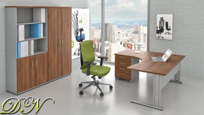 Zostava kancelárskeho nábytku Komfort 1.18, orech / sivá - ZEP 1.18 19