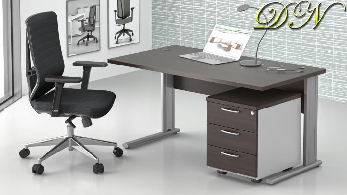 Zostava kancelárskeho nábytku Komfort 1.2, gaštan / sivá - ZEP 1.2 07