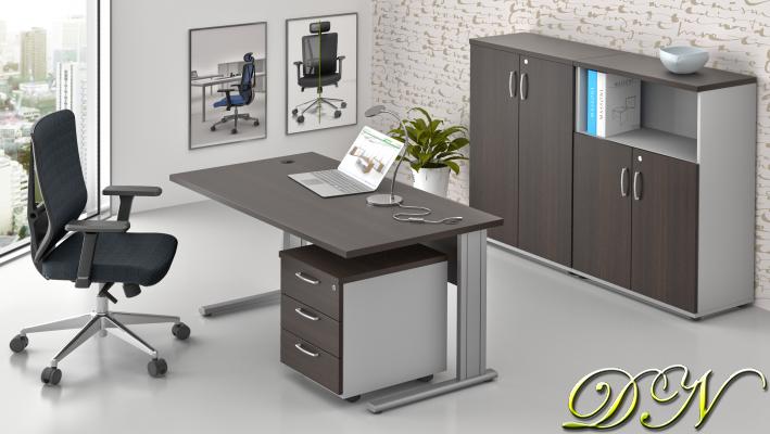 Zostava kancelárskeho nábytku Komfort 1.6, gaštan / sivá - ZEP 1.6 07