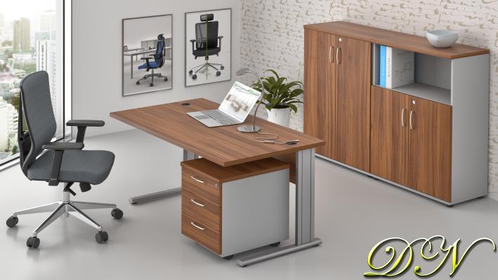 Zostava kancelárskeho nábytku Komfort 1.6, orech / sivá - ZEP 1.6 19
