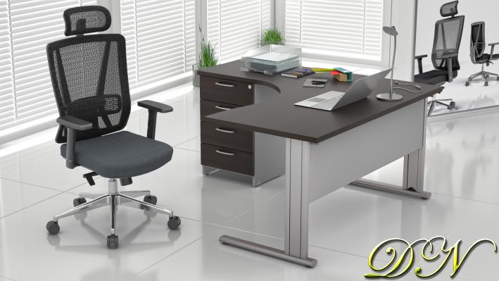 Zostava kancelárskeho nábytku Komfort 1.8, gaštan / sivá - ZEP 1.8 07
