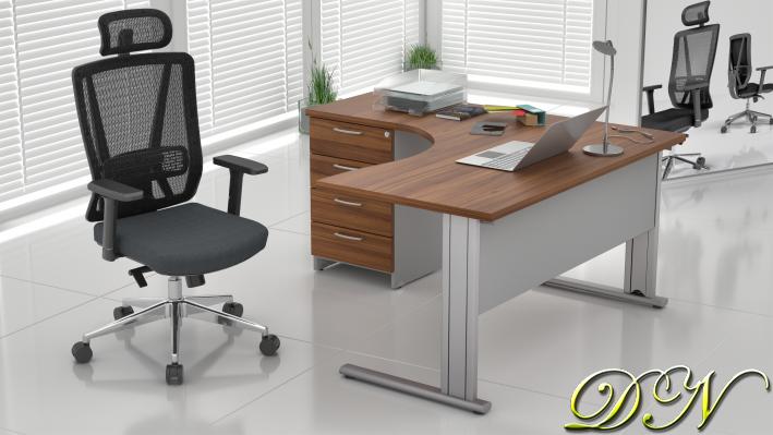 Zostava kancelárskeho nábytku Komfort 1.8, orech / sivá - ZEP 1.8 19