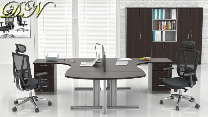 Zostava kancelárskeho nábytku Komfort 2.12, gaštan / sivá - ZEP 2.12P 07