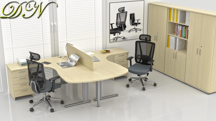 Zostava kancelárskeho nábytku Komfort 2.12, javor - ZEP 2.12P 12