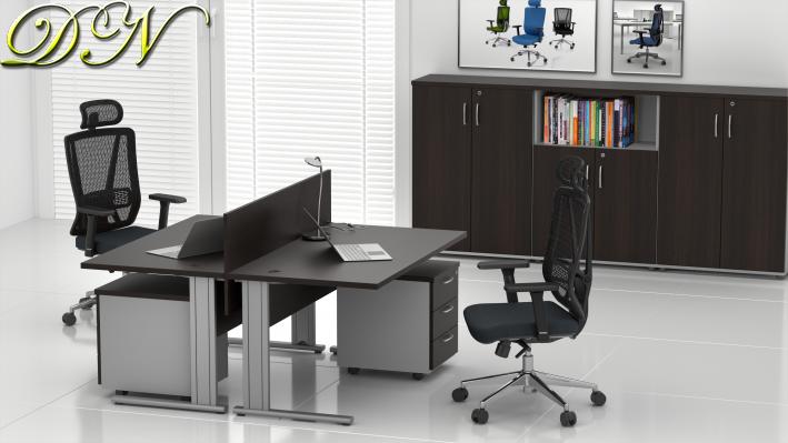 Zostava kancelárskeho nábytku Komfort 2.6, gaštan / sivá - ZEP 2.6 07