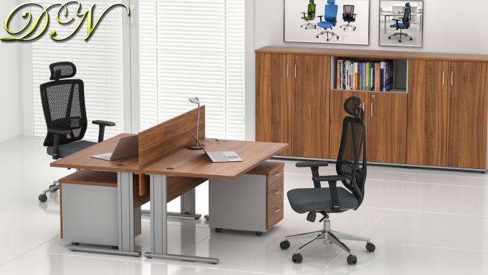Zostava kancelárskeho nábytku Komfort 2.6, orech / sivá - ZEP 2.6 19