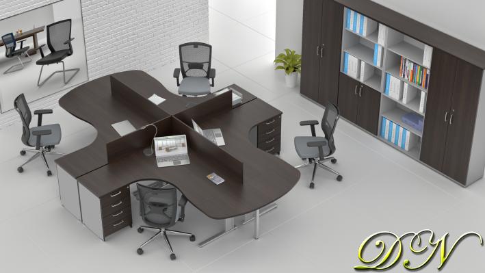 Zostava kancelárskeho nábytku Komfort 4.12, gaštan / sivá - ZEP 4.12P 07