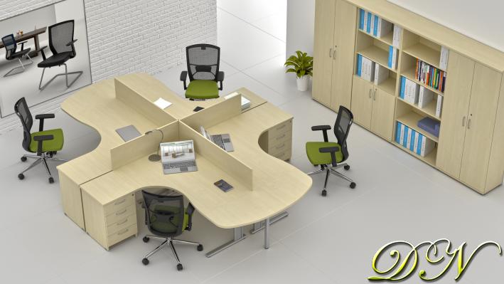 Zostava kancelárskeho nábytku Komfort 4.12, javor - ZEP 4.12P 12