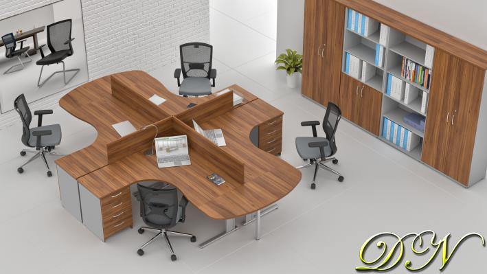 Zostava kancelárskeho nábytku Komfort 4.12, orech / sivá - ZEP 4.12P 19