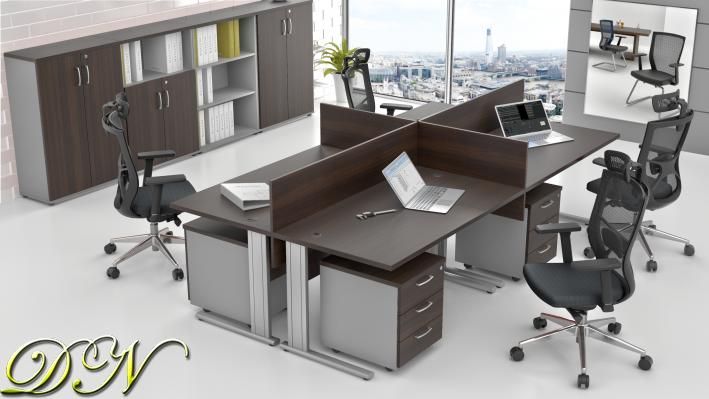 Zostava kancelárskeho nábytku Komfort 4.6, gaštan / sivá - ZEP 4.6 07