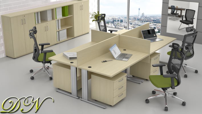Zostava kancelárskeho nábytku Komfort 4.6, javor - ZEP 4.6 12