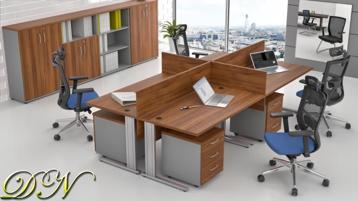 Zostava kancelárskeho nábytku Komfort 4.6, orech / sivá - ZEP 4.6 19